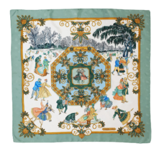 Hermes Foies D Hiver silk scarf