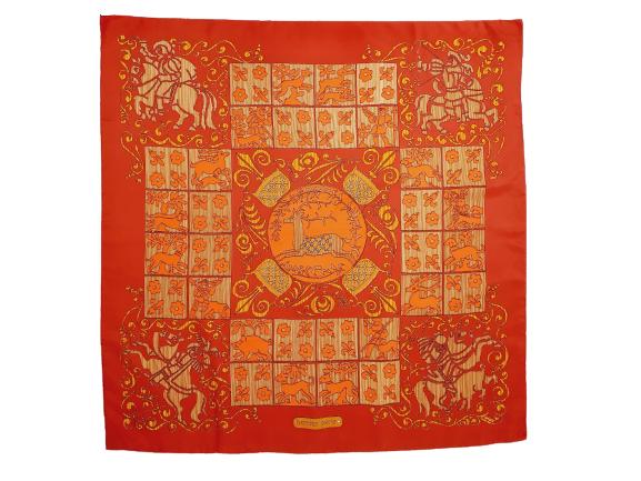 Hermes Hourvari silk scarf